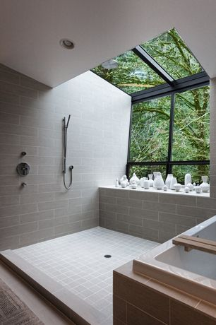 Contemporary Master Bathroom with Shower, Standard height, picture window, Galiano Tub and Shower Faucet Set TSR9095, Bathtub