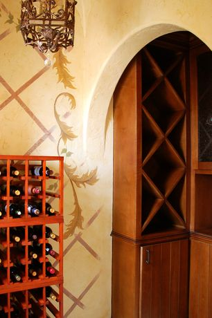 Mediterranean Wine Cellar with flush light, Traditional series 66-bottle 6-column half height wine rack, High ceiling