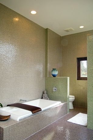 Contemporary Master Bathroom with ceramic tile floors, Master bathroom, Daltile color wave green parade cw 15 mosaic tile