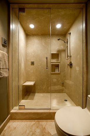 Modern 3/4 Bathroom with Handheld showerhead, frameless showerdoor, Concrete wall