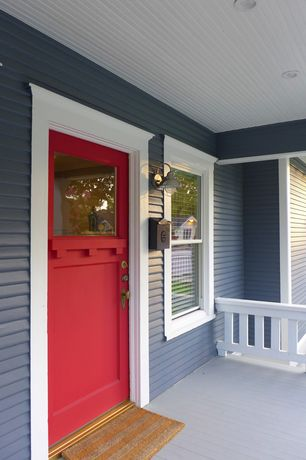 Craftsman Front Door with double-hung window, Glass panel door, Deck Railing