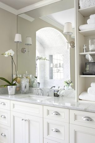 Traditional Master Bathroom with Chrome cabinet cup pulls, partial backsplash, Subway Tile, Frameless wall mirror, Paint