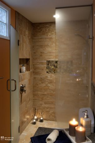 Contemporary Master Bathroom with Mosaic tile accent, Paint 1