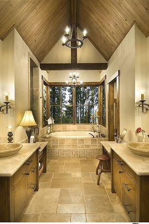 Craftsman Master Bathroom with Tumbled travertine tile, Vessel sink, Master bathroom, High ceiling, Flat panel cabinets