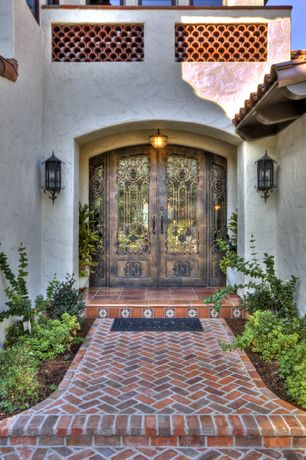 Eclectic Front Door with Brick exterior flooring, French doors, Arched double door, Pathway, exterior brick floors