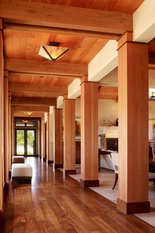 Contemporary Hallway with Exposed beam, Cherry tree craftsman ceiling light, French doors, Transom window, High ceiling