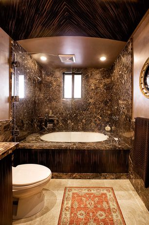 Traditional Full Bathroom with stone tile floors, High ceiling, Casement, Onyx counters, shower bath combo, Full Bath, Shower