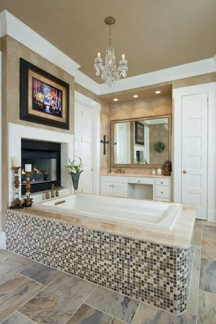 Traditional Master Bathroom with Complex Marble, Built-in bookshelf, interior wallpaper, Raised panel, Undermount sink