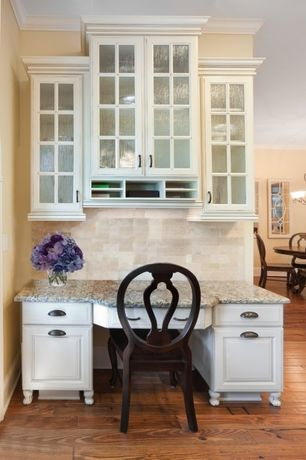 Traditional Kitchen with Chandelier, Complex granite counters, Slate Tile, Stone Tile, Raised panel, Standard height