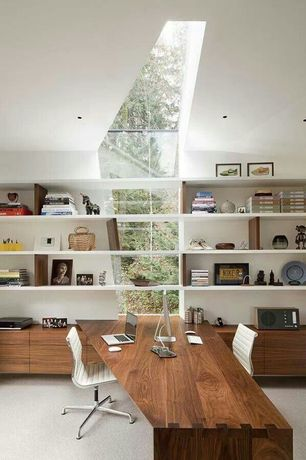 Contemporary Home Office with Skylight, Built-in bookshelf, Carpet