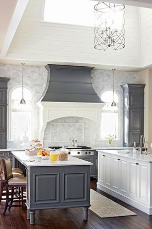 "Contemporary Kitchen with Breakfast bar, Marble subway tile (3""x6"" tile), Paintable white beadboard, Custom hood, One-wall"