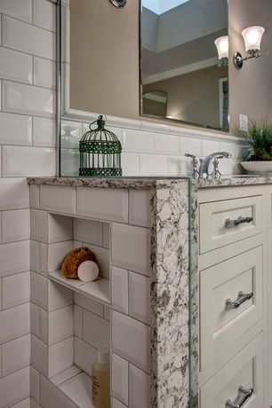 Traditional Master Bathroom with High ceiling, Crown molding, American Olean Profiles Beveled Ice White Subway Tile, Skylight