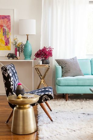 Eclectic Living Room with Hardwood floors, Sheer curtain panels, West Elm Heath Sofa, West elm martini side table, Paint