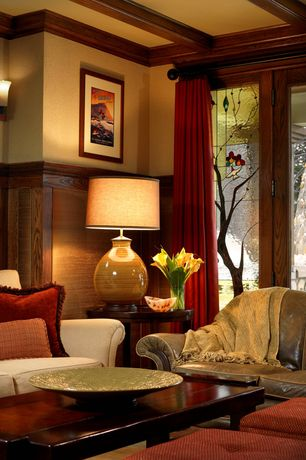 Asian Living Room with Box ceiling, Paint, Crown molding, Faux Solid Mohair Throw, Stained glass window, Wall sconce