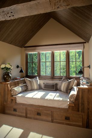 Rustic Guest Bedroom with OAK ISLAND STORAGE BED, Savoy House Perkins 1 Light Outdoor Wall Lantern, Guestroom, Exposed beam