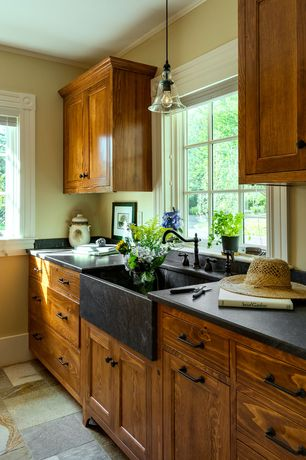 Country Kitchen with Paint 1, Feiss urban renewal 1-light oil rubbed bronze pendant, slate tile floors, One-wall, Paint 1
