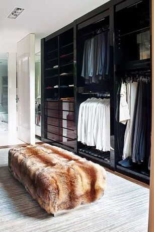 Contemporary Closet with Carpet, Built-in bookshelf, Standard height, can lights