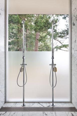 Contemporary Master Bathroom with MS International Arabescato Statuary Marble, Handheld showerhead, Master bathroom