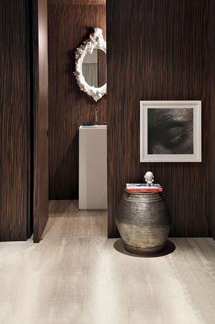 Contemporary Hallway with interior wallpaper, Hardwood floors
