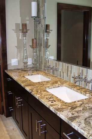 Contemporary Master Bathroom with Double sink, European Cabinets, Undermount sink, Arizona tile, BETULARIE,Granite, Flush