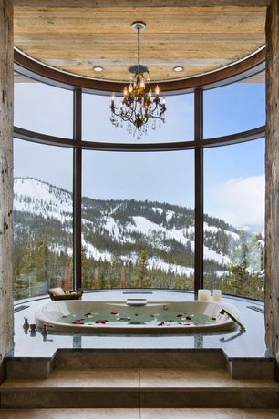 Rustic Master Bathroom with Bathtub, Jacuzzi Whirlpool Venicia Salon Spa Drop-In Tub, Natural light, can lights, Chandelier