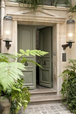 Traditional Front Door with A&B Home Group, Inc Classical Urn Planter, exterior tile floors, exterior stone floors