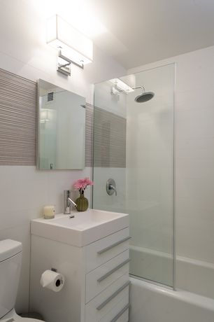 """Contemporary Master Bathroom with Ribbed porcelain tile, George kovacs rectangle chrome 11"""" high 2- light wall sconce"""