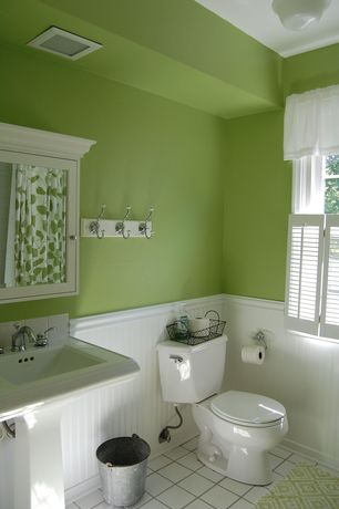 Cottage Full Bathroom with Hotel medicine cabinet, extra-large, Full Bath, Paint 1, Wainscotting, Pedestal sink, Wall Tiles