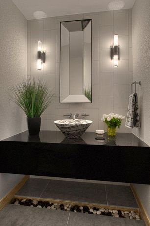 Contemporary Powder Room With D 39 Vontz Free Form Natural Stone Vessel
