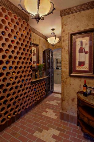 Eclectic Wine Cellar with Built-in bookshelf, Brick floors, flush light