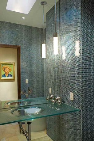 Contemporary Powder Room with Glass vanity, Standard height, Powder room, Skylight, stone tile floors, Pendant light