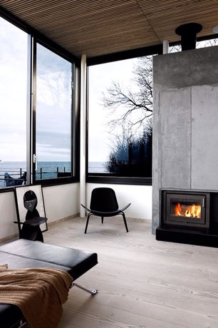 Contemporary Living Room with specialty window, Standard height, insert fireplace, Hardwood floors, Fireplace