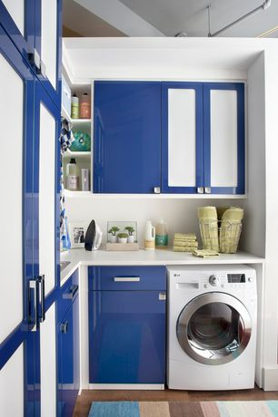 Modern Laundry Room with Built-in bookshelf, Kenmore 3.9 cu. ft. front-load washer & 7.0 cu. ft. dryer bundle