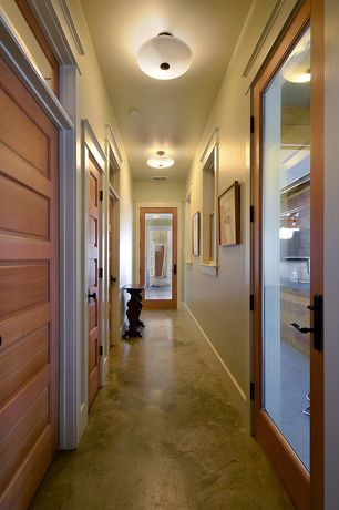 Craftsman Hallway with Transom window, French doors, Concrete floors, flush light