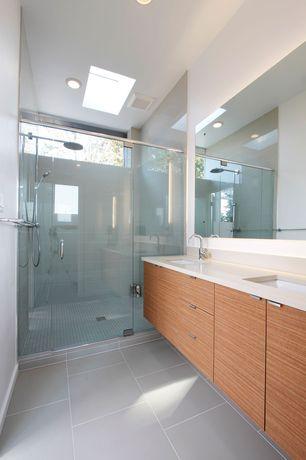 Modern Master Bathroom with Pentalquartz cascade white bq201, Bellmount 1600 revurb thermal structured surface field, Flush
