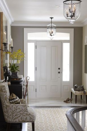 Contemporary Entryway with Beth Lacefield Atlas Taupe Area Rug 5x8, JVI Designs 3 Light Medium Bell Jar Foyer Pendant