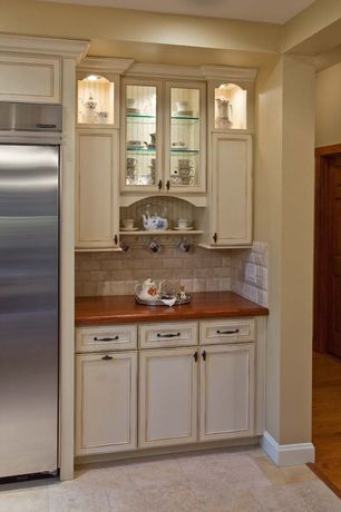 Country Kitchen with Flat panel cabinets, MS International Baja Ivory Ceramic Tile, Stone Tile, One-wall, Limestone Tile