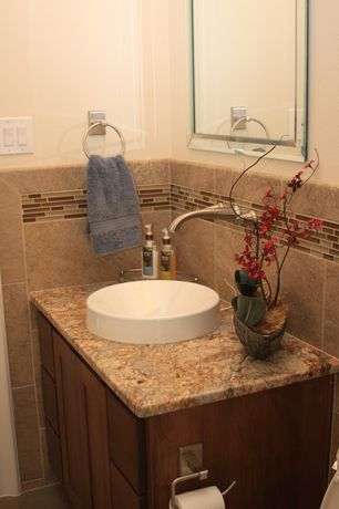 Craftsman Powder Room with Decolav DecoLav Semi-Recessed Ceramic Vessel Bathroom Sink