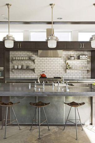 Contemporary Kitchen with Undermount sink, Open shelving, Pendant light, Breakfast bar, European Cabinets, Kitchen island