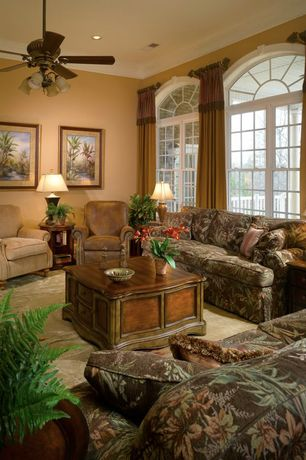 Traditional Living Room with Carpet, can lights, double-hung window, High ceiling, Ceiling fan, Paint