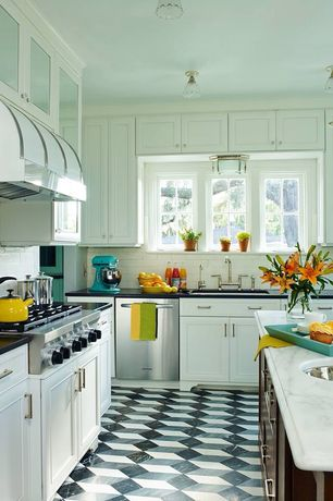Traditional Kitchen with Raised panel, electric cooktop, dishwasher, Standard height, full backsplash, Undermount sink, Flush