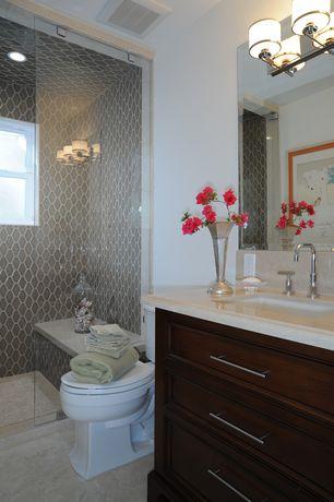 Contemporary Full Bathroom with Nuvo Lighting Candice 3 Light Bath Vanity Light, Limestone, Inset cabinets, Undermount sink