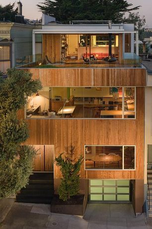 Modern Exterior of Home with Accent landscape lighting