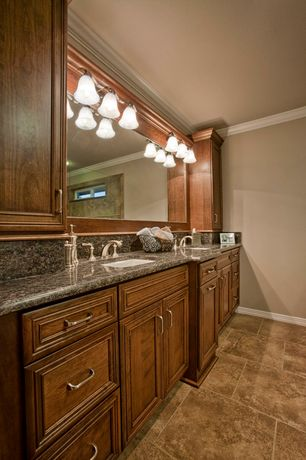 Traditional Master Bathroom with Undermount sink, Simple Granite, Double sink, three quarter bath, Framed Partial Panel