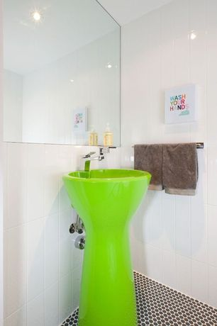 Modern Powder Room with Pedestal sink, can lights, Standard height, Powder room, penny tile floors