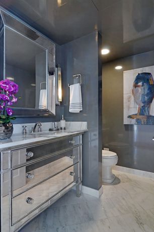 "Art Deco Powder Room with Built-in bookshelf, George kovacs ada 20 1/2"" wide chrome led bath light, Hardwood floors"