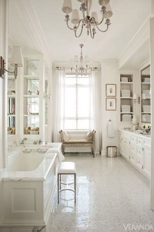 Traditional Master Bathroom with Complex Marble, Ann Sacks carrara stacked mosaic tile, Crown molding, Window seat