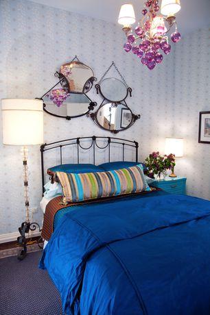 Eclectic Guest Bedroom with Carpet, interior wallpaper, Chandelier