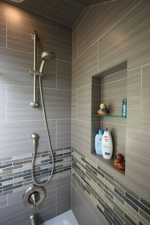 Contemporary Full Bathroom with Recessed shower niche, Handheld showerhead, Ceramic shower tile