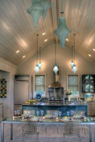 Cottage Kitchen with can lights, Painted wood panel ceiling, Xp coastal pine laminate flooring, dishwasher, European Cabinets